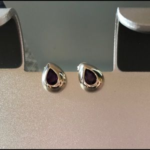 Sterling silver and amethyst posts with backs